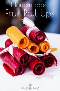 Homemade Fruit Roll Ups that you can make out of any fresh or frozen fruit that you have on hand! These delicious snacks are perfect for kids. #homemadefruitrollups #fruitrollups #makeyourown