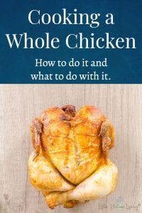 "Need to make the most out of one of the most frugal ""cuts"" of chicken? Here's an excellent blog post on how to easily cook a whole chicken and what to do with it to make the most of it once it's cooked. #wholechicken #chicken #eatchicken"